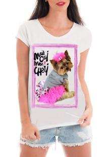 Camiseta Criativa Urbana Rendada Pet Love Branco