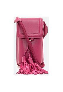 Bolsa Porta Celular Com Tassel   Satinato   Rosa   U