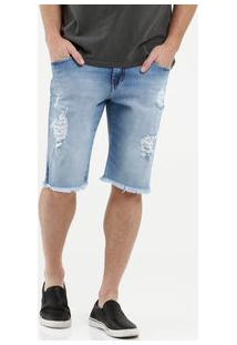 Bermuda Masculina Jeans Barra Desfiada Razon