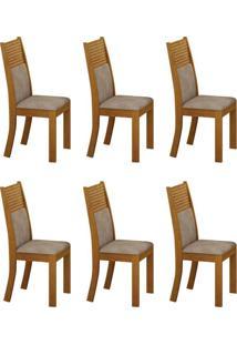 Conjunto Com 6 Cadeiras Havaí Imbuia E Cinza