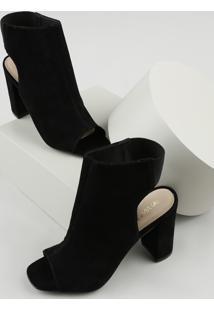Sandal Boot Feminina Via Uno Salto Alto Grosso Em Veludo Preta