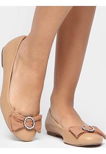 Sapatilha Shoestock Laço Strass - Feminino-Nude