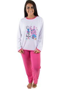 Pijama Linha Noite Longo Pink Rosa - Kanui