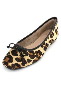 Sapatilha Couro Dali Shoes Animal Print Oncinha Marrom