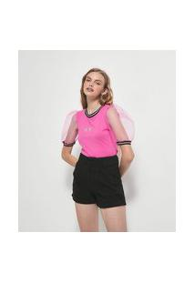 Blusa Manga Curta Bufante Em Tule Estampa No Regrets | Blue Steel | Rosa | Pp