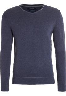 Suéter Masculino Tricot V-Neck - Azul Petróleo