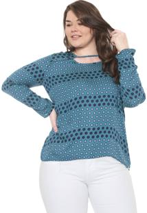 Blusa Cativa Plus Geométrica Verde/Azul