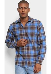 Camisa Xadrez Forum Manga Longa Smart Masculina - Masculino-Marrom+Azul
