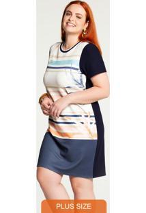 Vestido Plus Size Curto Malha E Crepe Azul