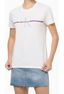 Blusa Feminina Slim Faixa Logo Ck Branca Calvin Klein Jeans - Pp