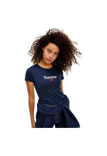 Camiseta Tommy Jeans Essential Logo Azul Tam. M