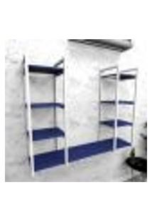Estante Industrial Escritório Aço Cor Branco 120X30X98Cm (C)X(L)X(A) Cor Mdf Azul Modelo Ind54Azes