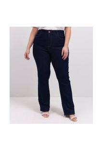Calça Reta Jeans Lisa Curve & Plus Size | Ashua Curve E Plus Size | Azul | 56
