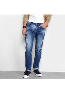 Calça Jeans Slim Zamany Estonada Puídos Masculina - Masculino-Azul