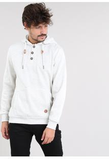 Blusão Masculino Em Moletom Com Capuz E Bolso Cinza Mescla Claro