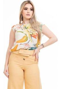 Blusa Clara Arruda Tricot Raglan Feminino - Feminino-Amarelo
