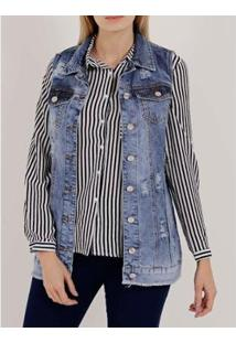 Colete Jeans Oversized Mokkai Feminino - Feminino-Azul
