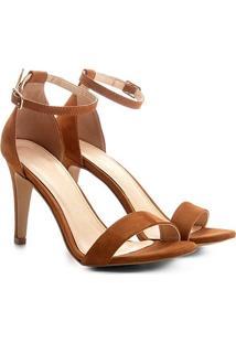 Sandália Couro Shoestock Salto Fino Naked Feminina - Feminino