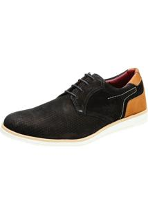 Sapato Sapatênis Casual Oxford Couro Confort Nobuck Khaata Preto