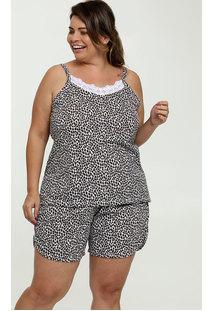 Pijama Feminino Estampado Plus Size Alças Finas