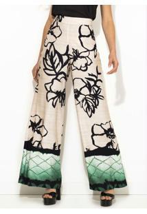 Calça Pantalona Estampa Flor De Nankin Bege