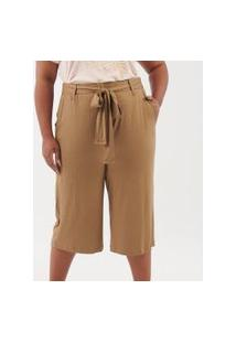 Calça Pantacourt Lisa Com Amarração Curve & Plus Size | Ashua Curve E Plus Size | Marrom | Gg