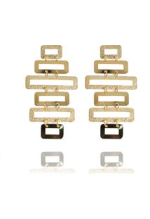 Brinco Formas Geométricas Fosco Semijoia Banho De Ouro 18K - Kanui