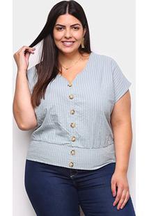 Blusa Allexia Pluz Size Listrada Botões Feminina - Feminino-Verde