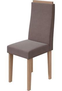 Cadeira Dafne Velvet Rosê Carvalho Naturale