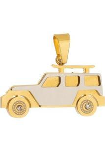 Pingente Carro Tudo Joias De Aço Inox Modelo Dourado - Unissex-Dourado
