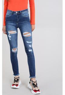 93a8b5d7c ... Calça Jeans Feminina Super Skinny Destroyed Azul Escuro