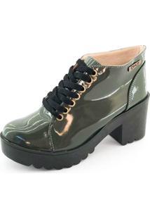 Bota Coturno Quality Shoes Feminina Verde Musgo Verniz 33