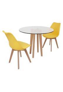 Conjunto Mesa De Jantar Em Vidro 90Cm Com Base Vértice + 2 Cadeiras Leda - Amarelo
