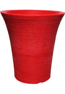 Vaso Redondo 45Cmx48Cm Ouro Fino Vermelho