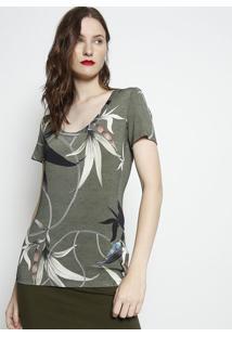 Camiseta Com Tag- Verde Militar & Off White- Forumforum