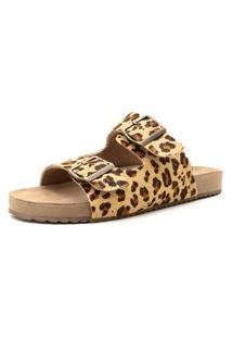 Snadália Birken Rasteira Couro Onça Kuento Shoes