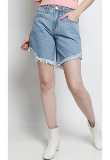 Bermuda Jeans Com Bolsos Frontais- Azul Claroforum