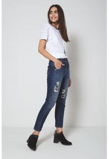 Calça Jeans Oh, Boy! Tacos Feminina - Feminino-Azul