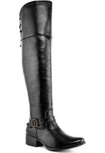 Bota Over The Knee Art Shoes Amarração Feminina - Feminino-Preto
