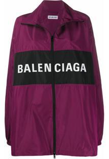 Balenciaga Jaqueta Leve Com Zíper - Roxo