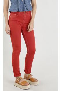 Calça De Sarja Feminina Skinny Com Pesponto Contrastante Vermelha