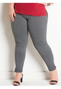 Legging Em Jacquard Com Fendas Plus Size Preta