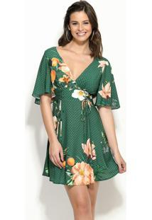 d94f9c445 ... Vestido Refresco Floral Verde Com Amarração
