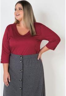 Blusa Plus Size Em Suede Vermelho