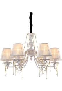 Lustre Nice Premier Iluminação 50X65 Branco E Dourado