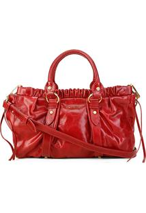 Bolsa Couro Carmim Handbag Vicki Feminina - Feminino-Vermelho