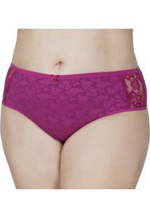 Calcinha Click Chique Plus Size Cintura Alta - Feminino-Rosa