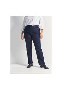 Calça Reta Jeans Sem Estampa Curve & Plus Size Azul