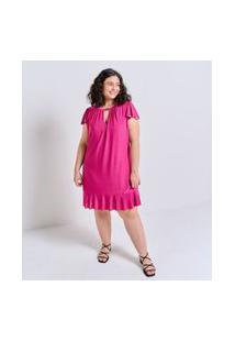 Vestido Com Estampa Poá E Fivela No Decote Curve & Plus Size | Ashua Curve E Plus Size | Rosa | Eg