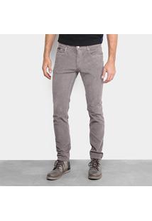 Calça Skinny Calvin Klein Veludo Cotelê Masculina - Masculino-Chumbo